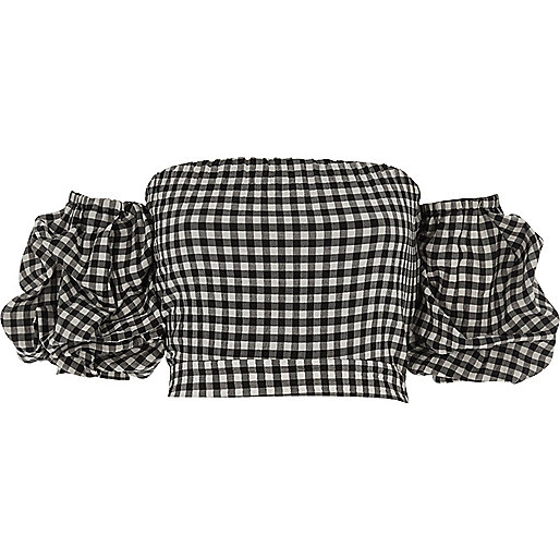 Black gingham puff sleeve bardot crop top