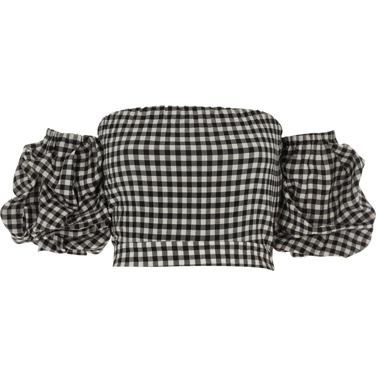 Crop Top mit Gingan-Muster und Puffärmeln