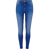 Bright blue fade detail Molly skinny jeans