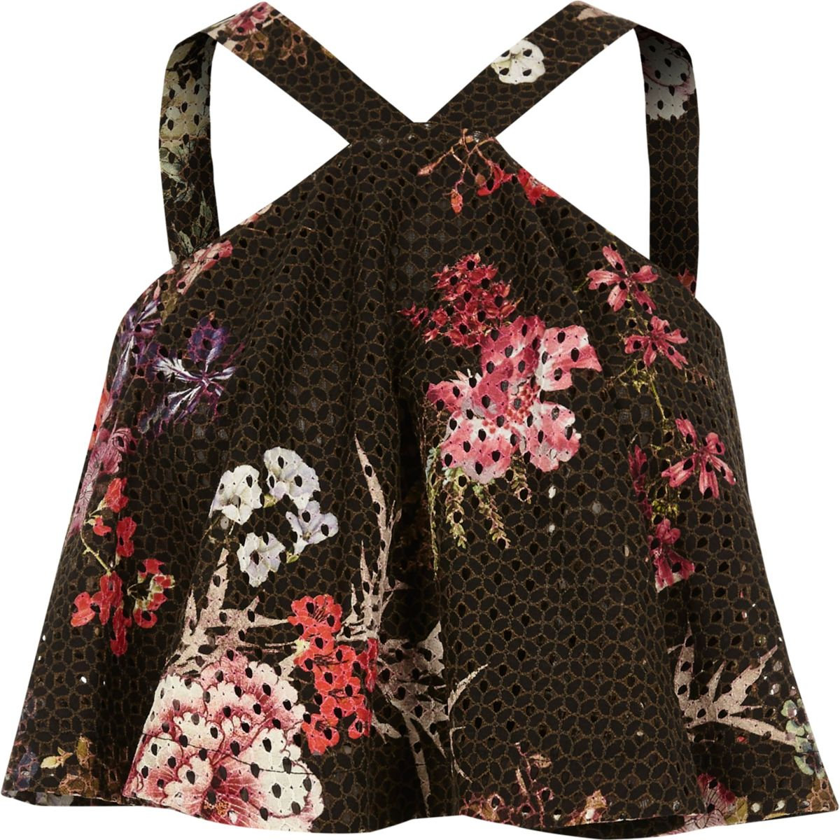 Black floral print cross neck lace crop top