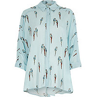 Blue parrot print knot back oversized shirt
