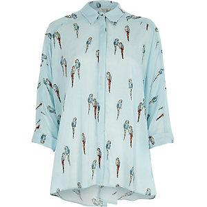 Blue parrot print knot back oversized shirt