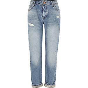 Middenblauwe boyfriend jeans met versierde zoom