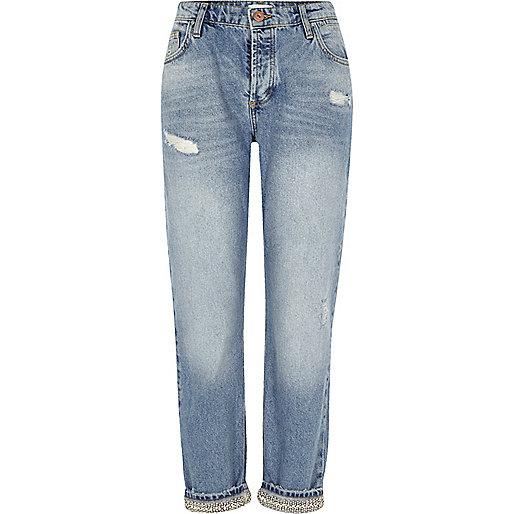 Mid blue embellished hem boyfriend jeans