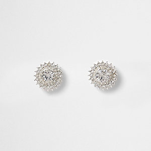 Silver tone diamante starburst stud earrings
