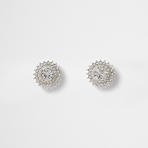 Silver tone rhinestone starburst stud earrings