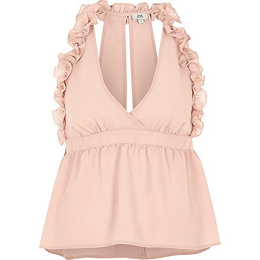 Light pink frill halter neck top