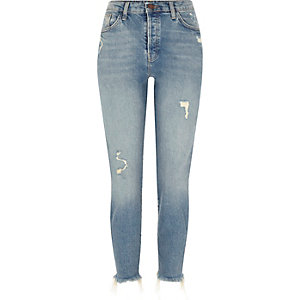 Mid blue distressed frayed hem slim fit jeans