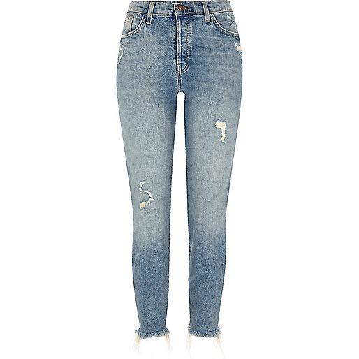 Mid blue distressed frayed hem slim fit jeans