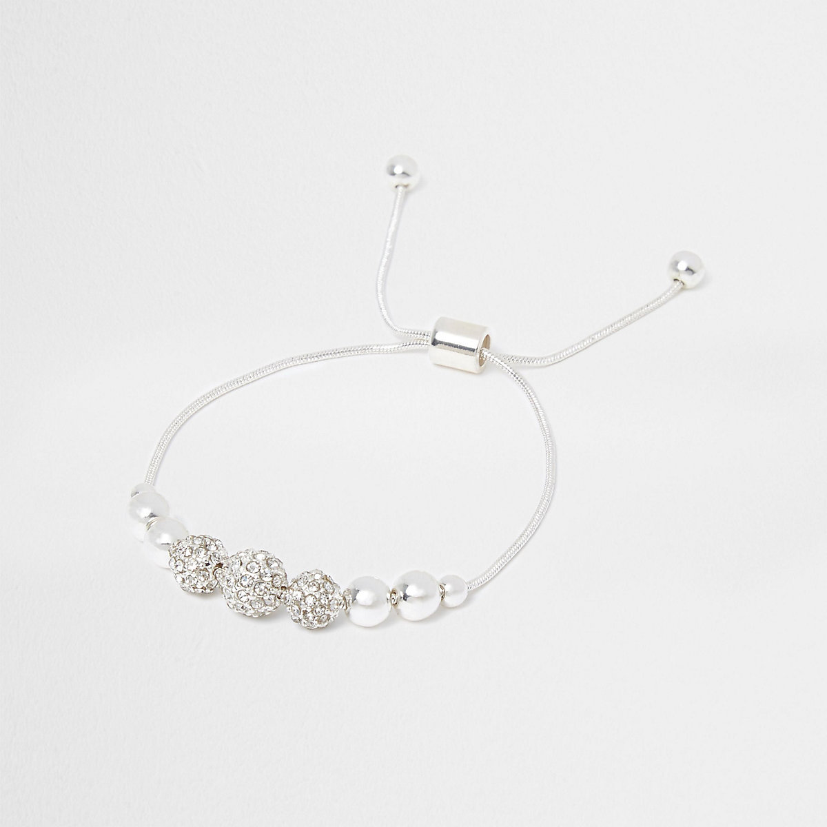 Silver tone rhinestone bead lariat bracelet