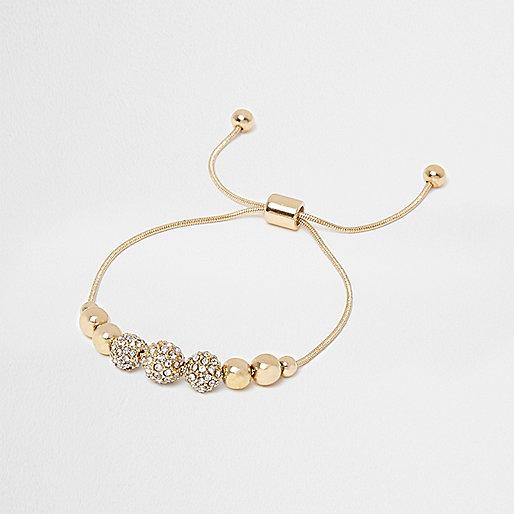 Gold tone rhinestone bead lariat bracelet