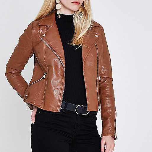 Tan faux leather biker jacket