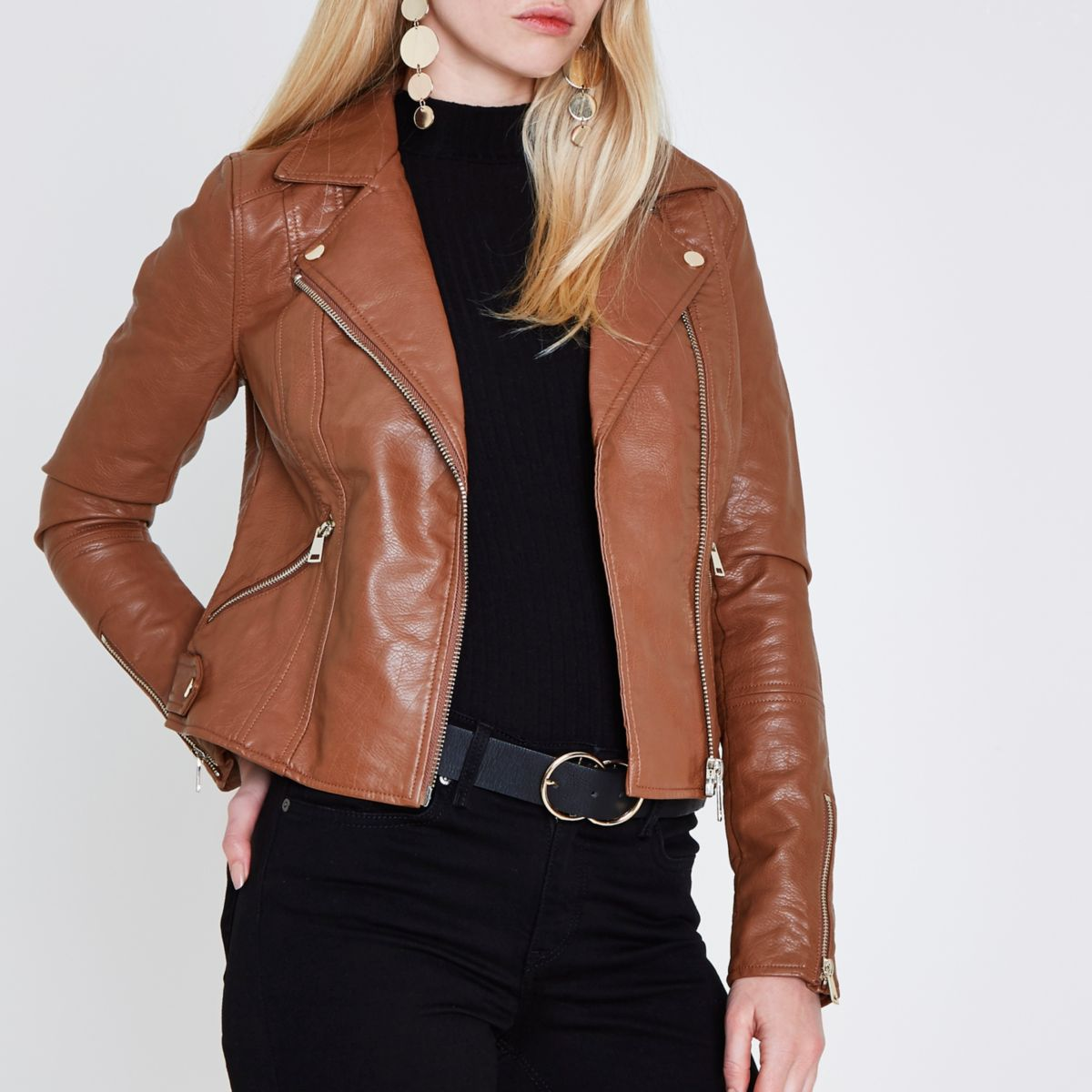 Tan faux leather biker jacket - Coats & Jackets - Sale - women
