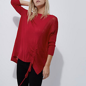 Petite red knit ruched side sweater