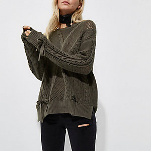 Petite khaki ladder knitted tie detail sweater