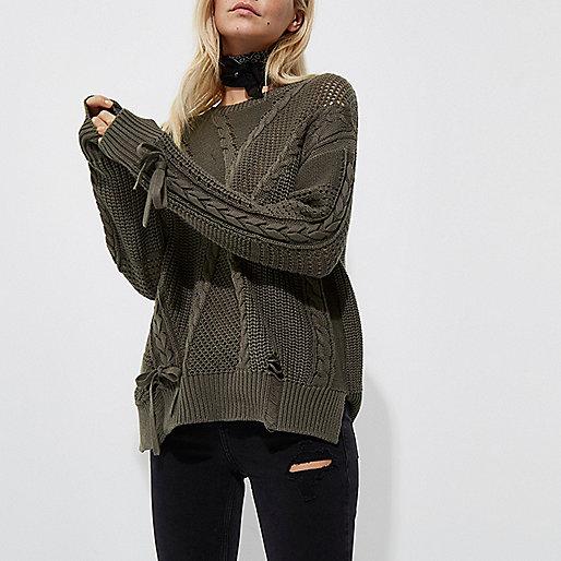 Petite khaki ladder knitted tie detail jumper