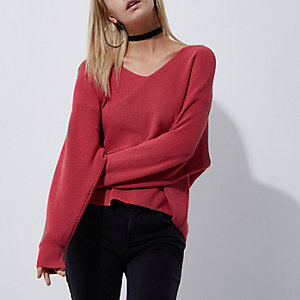 Petite pink bow tie back knit sweater