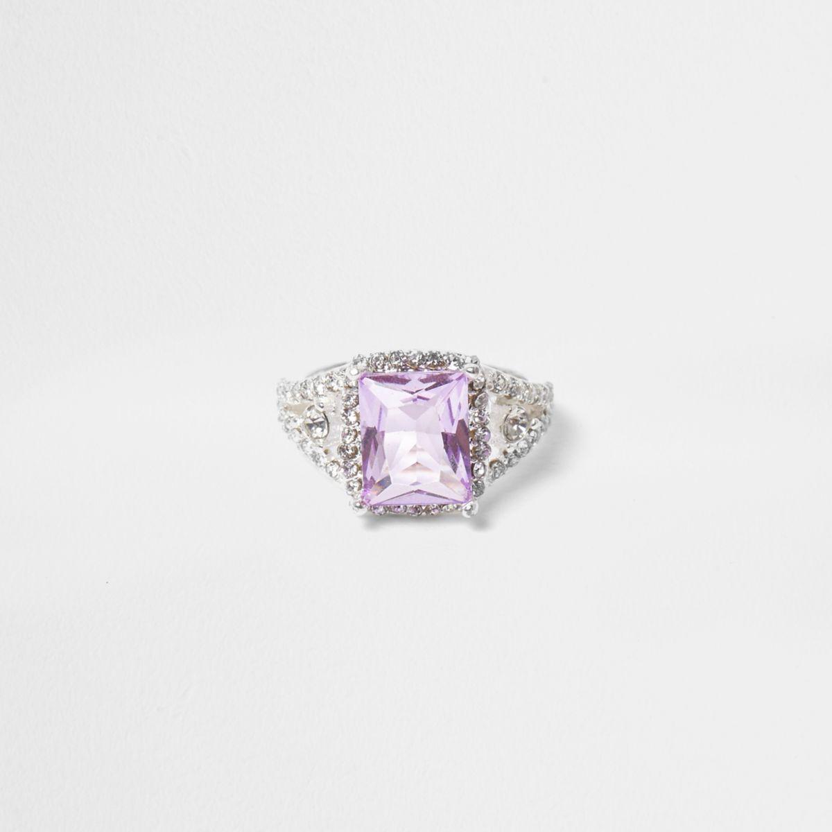 Silver tone lilac square diamante ring