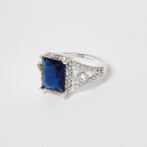 Silver tone blue square diamante ring