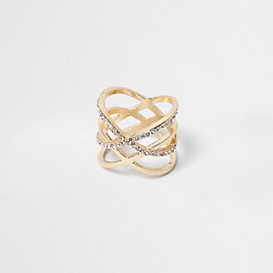 Gold tone double kiss ring