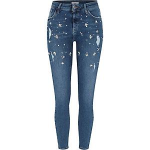 Amelie -Blauwe verfraaide superskinny jeans