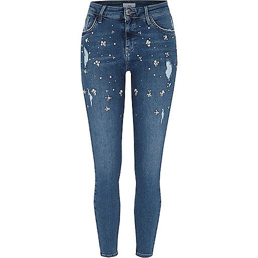 Blue Amelie embellished super skinny jeans