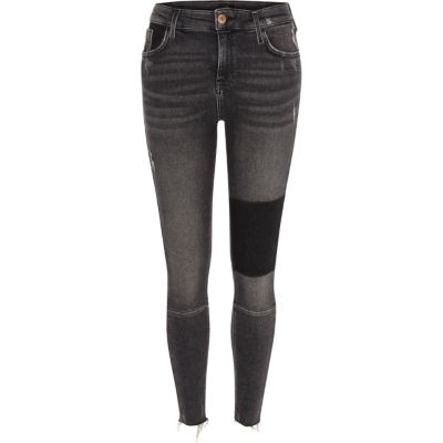 Amelie Zwarte washed superskinny jeans met panelen