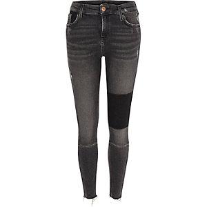 Amelie – Schwarze Superskinny Jeans mit Einsatz