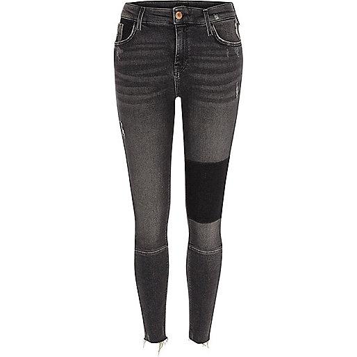 Black washed Amelie super skinny panel jeans