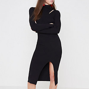 Black knit cut out turtle neck bodycon dress
