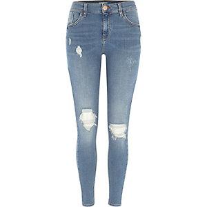 Amelie - Middenblauwe gescheurde superskinny jeans