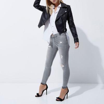 RI Petite Molly Grijze gescheurde skinny jeans