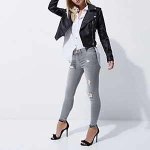 Petite grey ripped Molly skinny jeggings