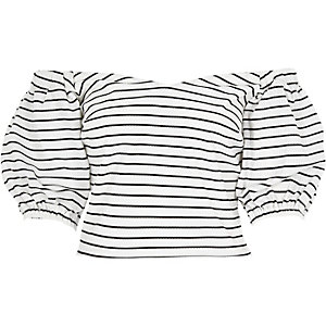 Black stripe puff sleeve bardot top