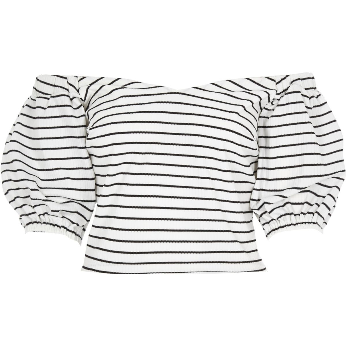 Black stripe puff sleeve bardot top