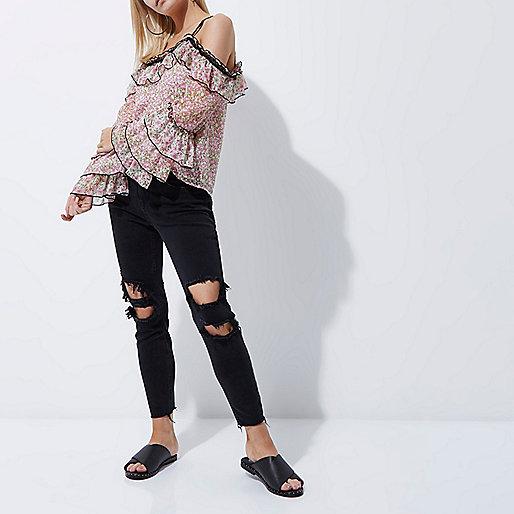 Petite black Alannah ripped skinny jeans