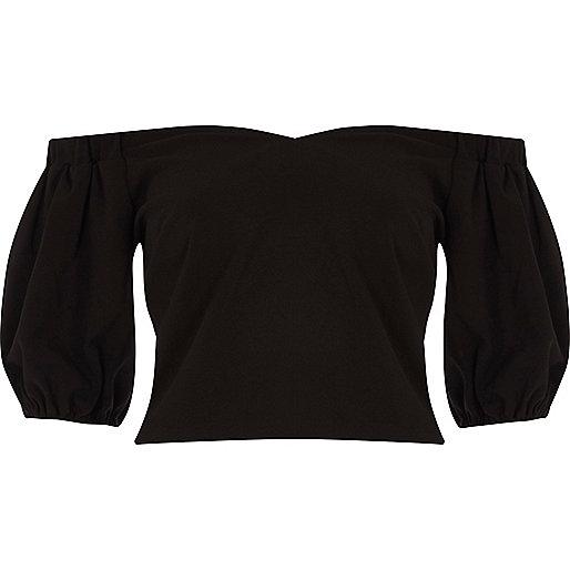 Black puff sleeve bardot crop top