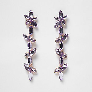 Purple flower drop earrings