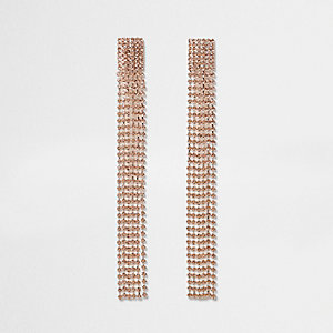 Rose gold tone multi strand dangle earrings