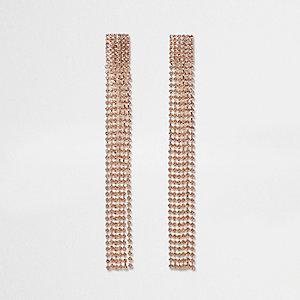 Boucles d'oreille doré rose avec pendentif à plusieurs rangs