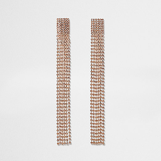 Rose gold tone multi strand dangle earrings