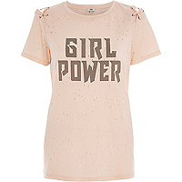 Beige 'girl power' lace-up T-shirt