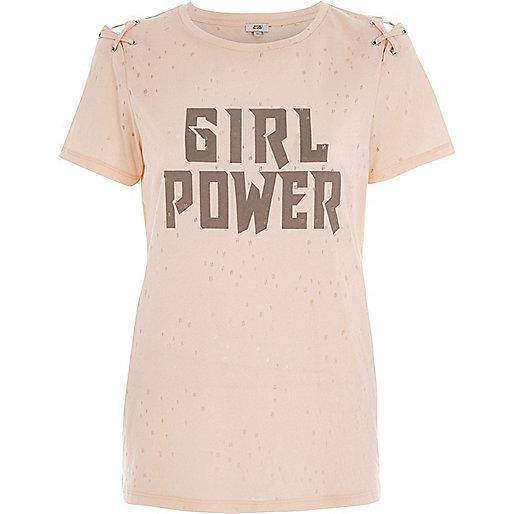 T-shirt beige «Girl Power» à lacets