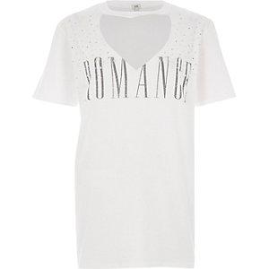 White embellished print boyfriend T-shirt
