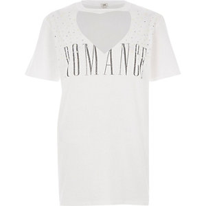 T-shirt imprimé orné blanc boyfriend pour fille