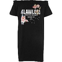 Black 'flawless' print oversized bardot top