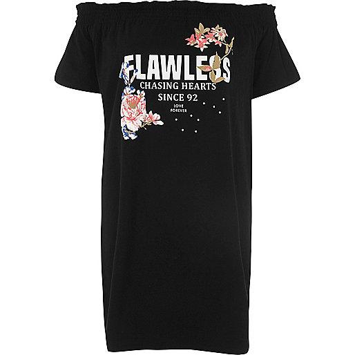 Zwarte oversized bardottop met 'Flawless'-print