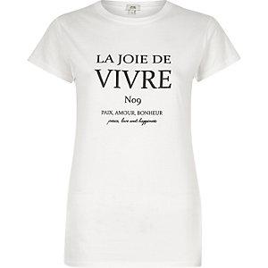 T-shirt imprimé Vivre blanc ajusté