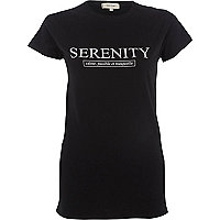 Black 'serenity' fitted T-shirt