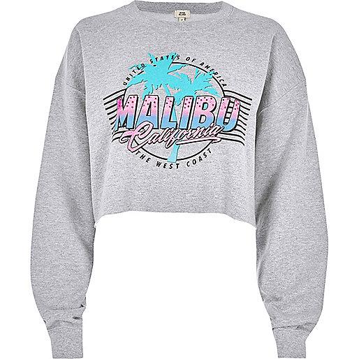 Grey marl 'Malibu' print cropped sweatshirt